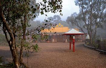 Atisha Centre gompa - misty day